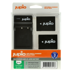 Jupio 2x Battery NP-W126S + USB Single Charger value back